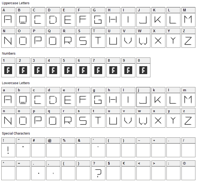 Fade Away Font Character Map