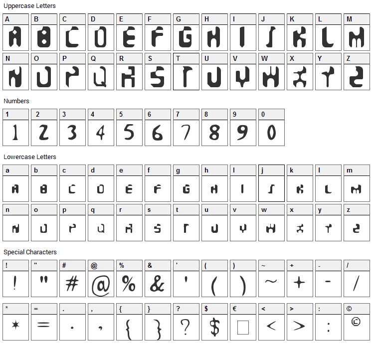 Faeronic Font Character Map