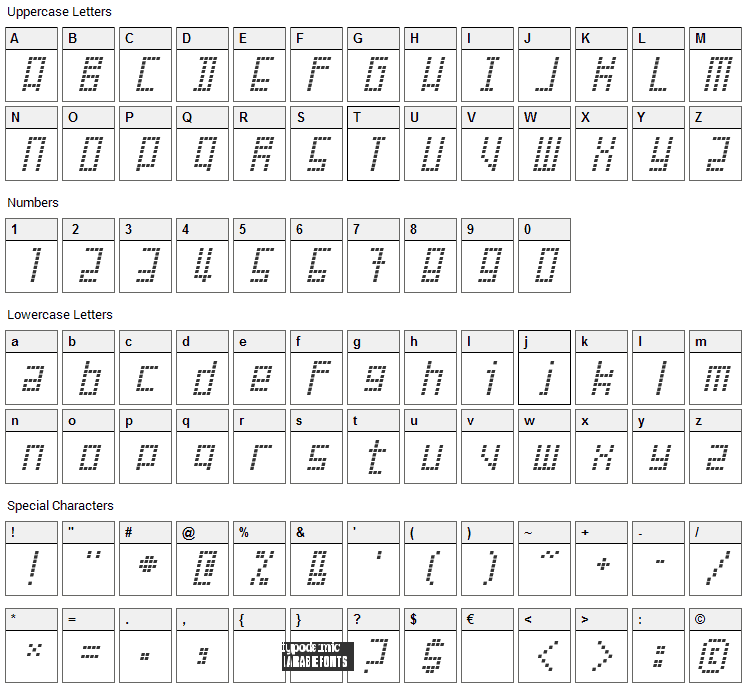 Failed Attempt Font Character Map