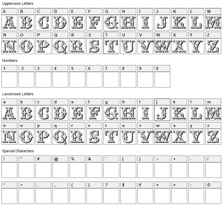 Fair Faces Font Character Map