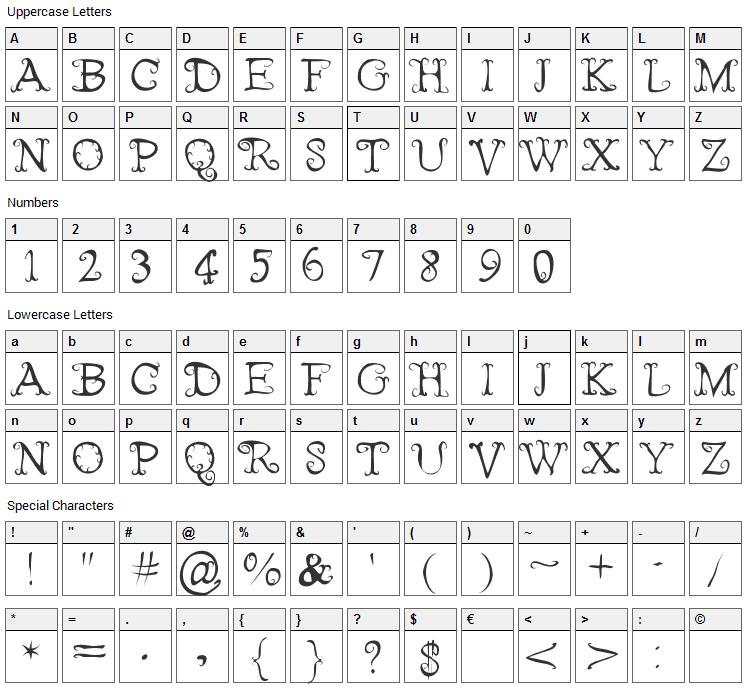 Fairies Wear Boots Font Character Map