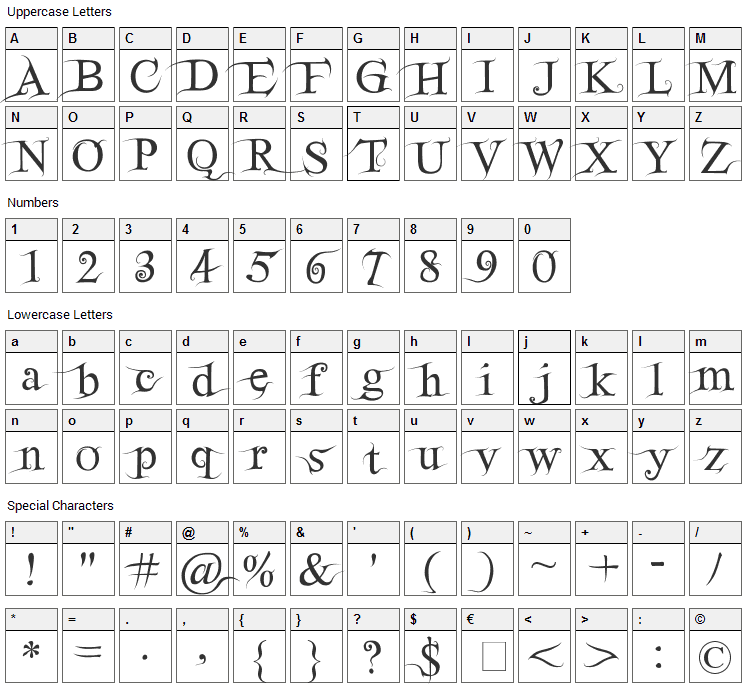 FairydustB Font Character Map