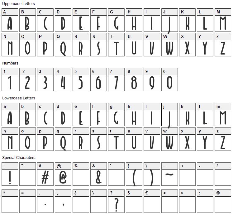 Faishal Font Character Map