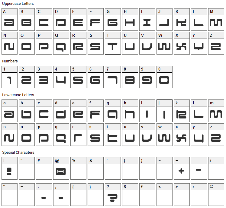 Falcon Font Character Map