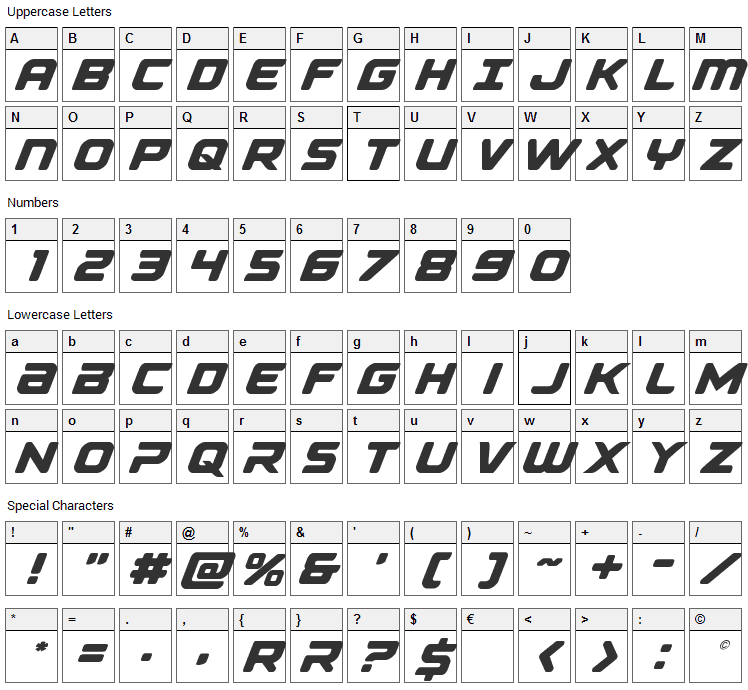 Falcon Punch Font Character Map