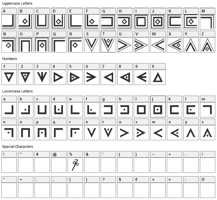 FAM-Code Font Character Map