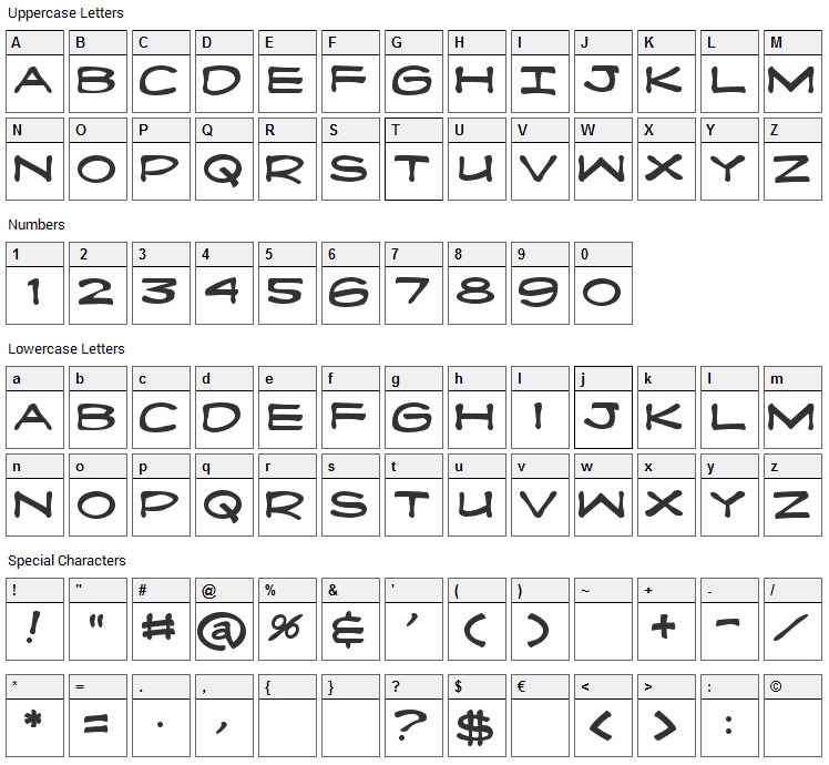 Fanboy Hardcore Font Character Map