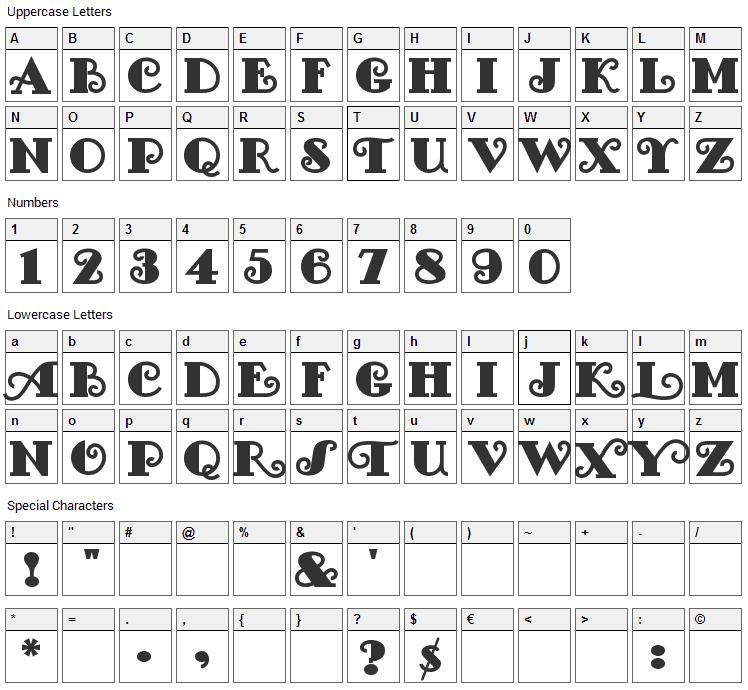 Fancy Pants Font Character Map