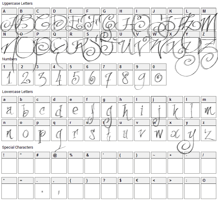 Fancy Pens Font Character Map