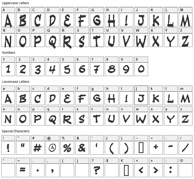 Fandango Font Character Map