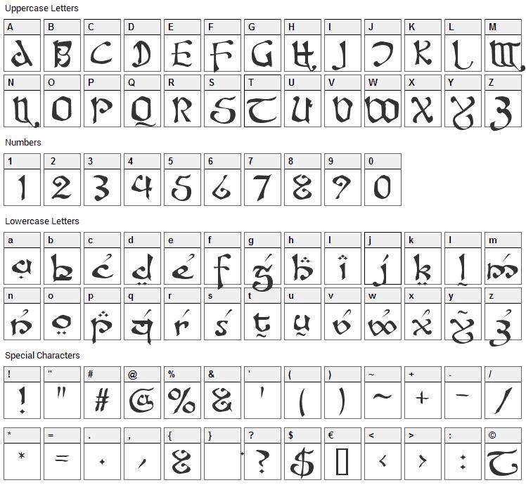 Fanjofey Font Character Map
