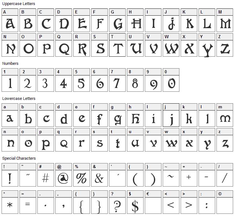 Fantaisie Artistique Font Character Map
