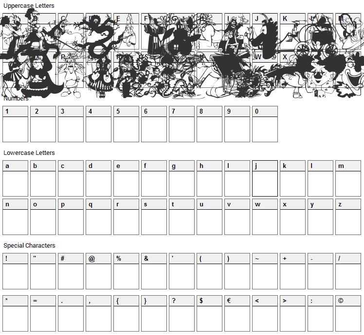 Fantasy CSP Font Character Map