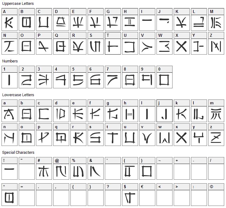Far East Font Character Map