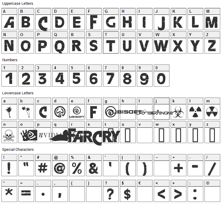 FarCry Font Character Map