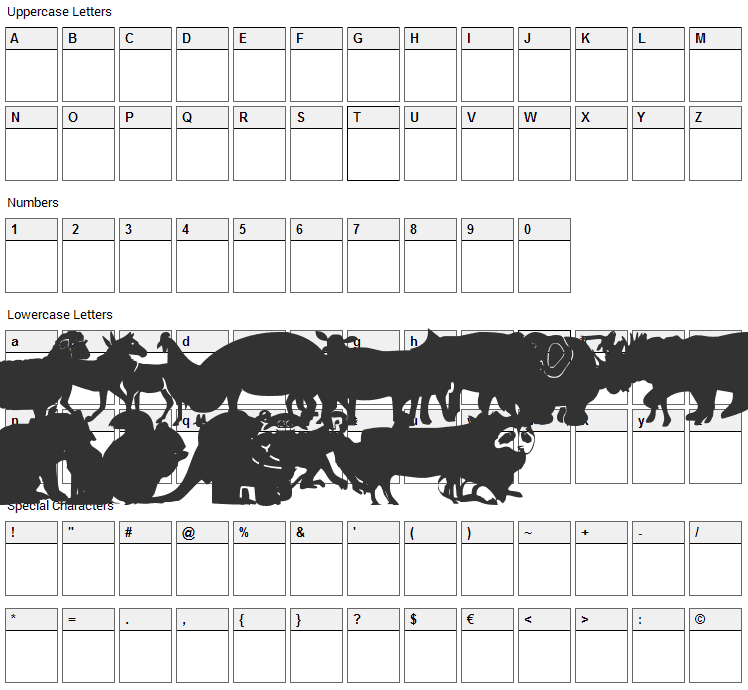 Farm & Wild Animals Font Character Map