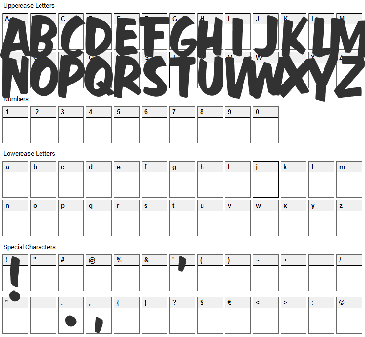 Fast Action Font Character Map