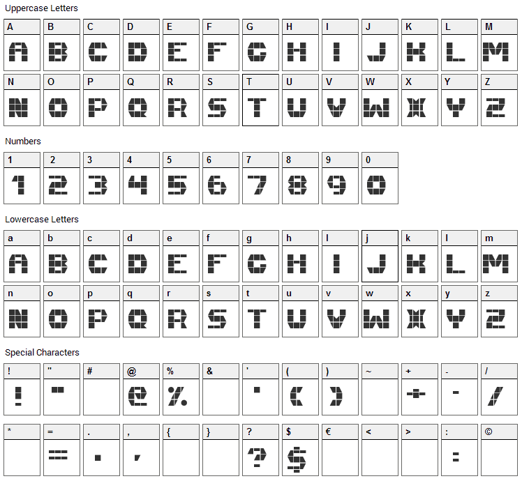 Fast Money Font Character Map