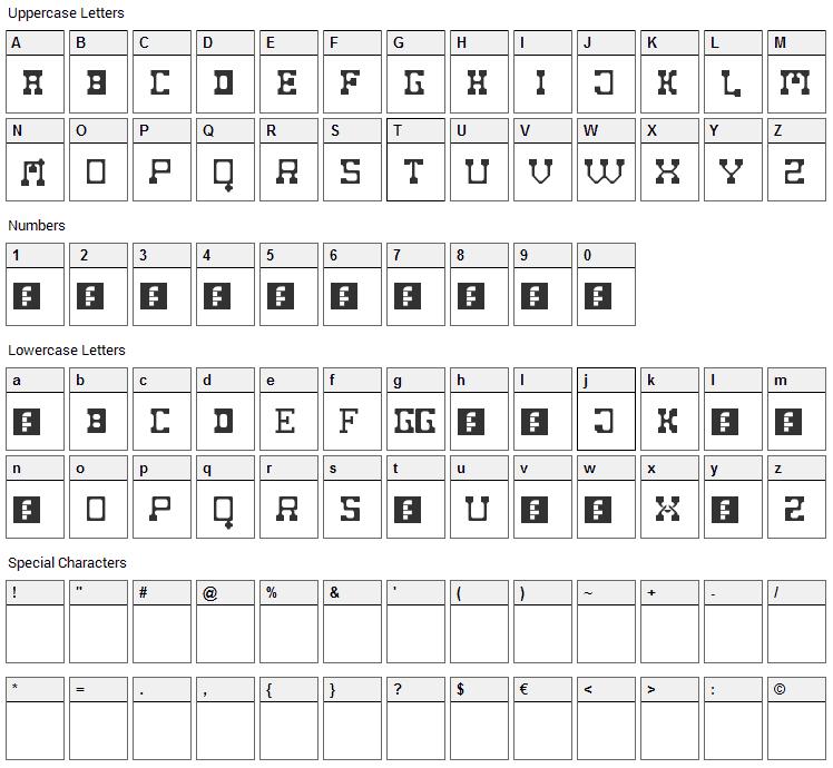 Fat Cowboy Font Character Map