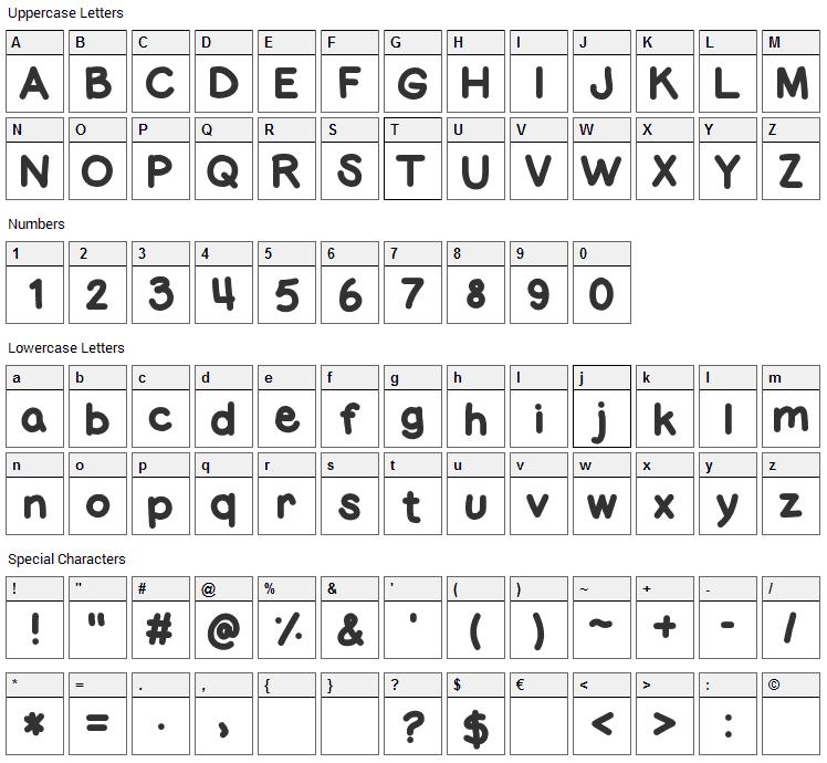 Fat Marker Font Character Map