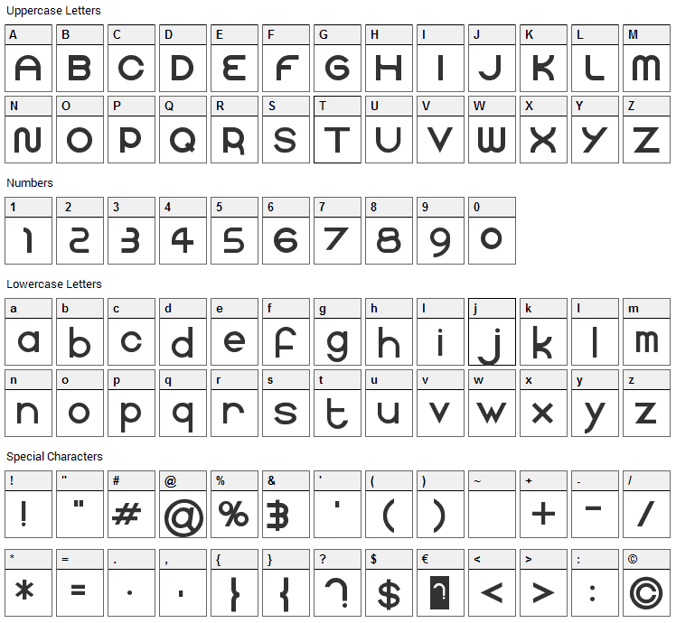 Faucet Font Character Map