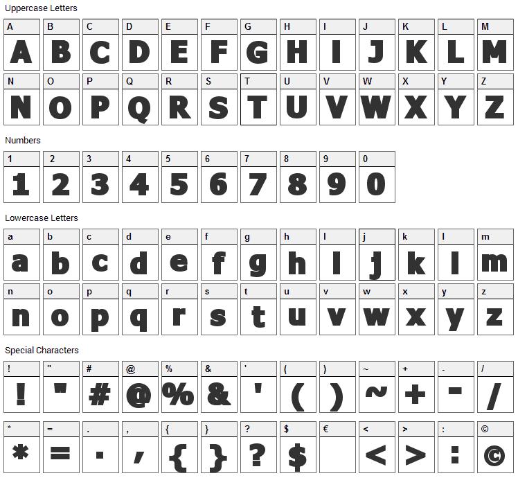 Fava Black Font Character Map