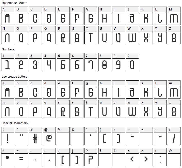 FD Tounge Font Character Map