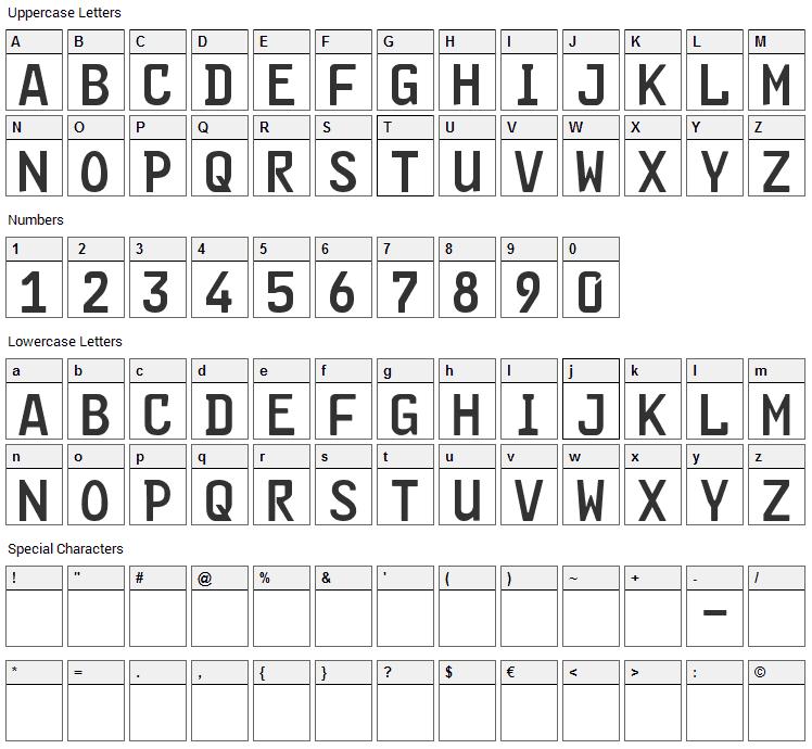 FE Font Character Map