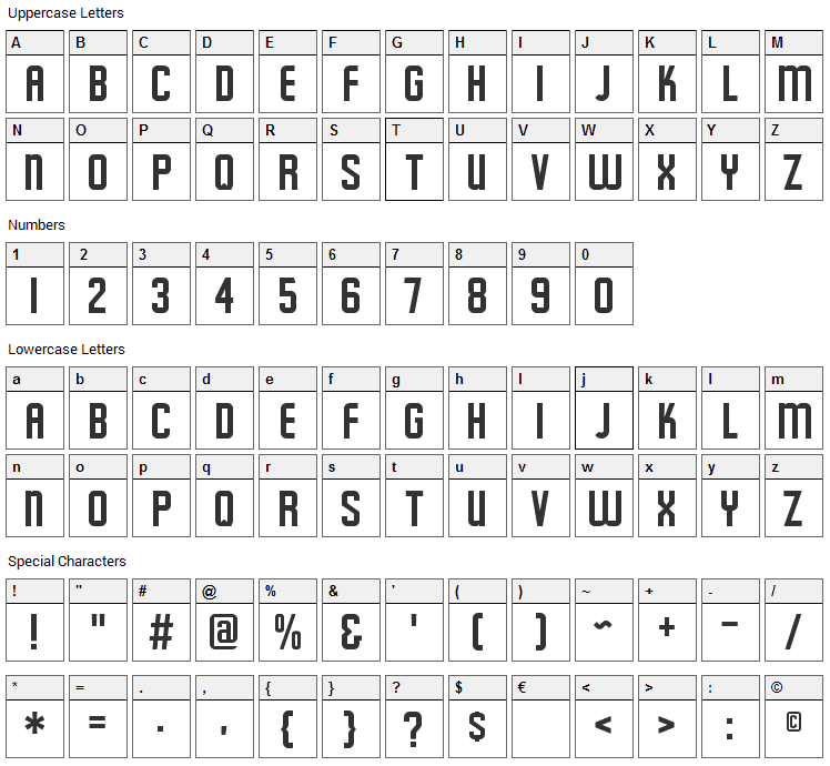 Featured Item Font Character Map
