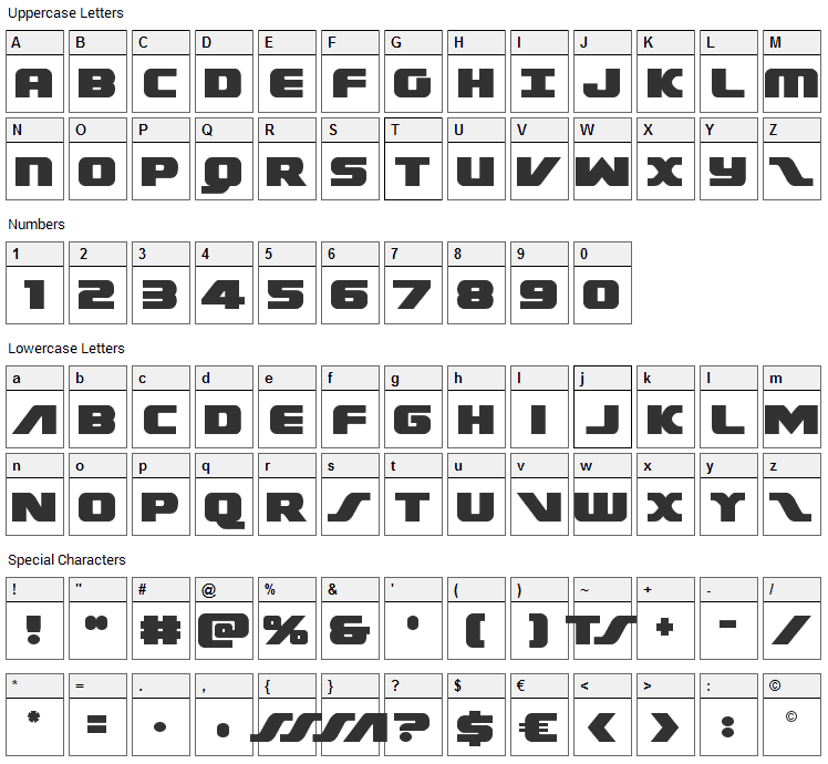Federal Escort Font Character Map