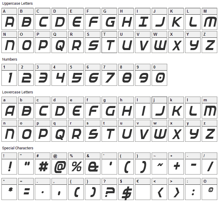 Federal Service Font Character Map