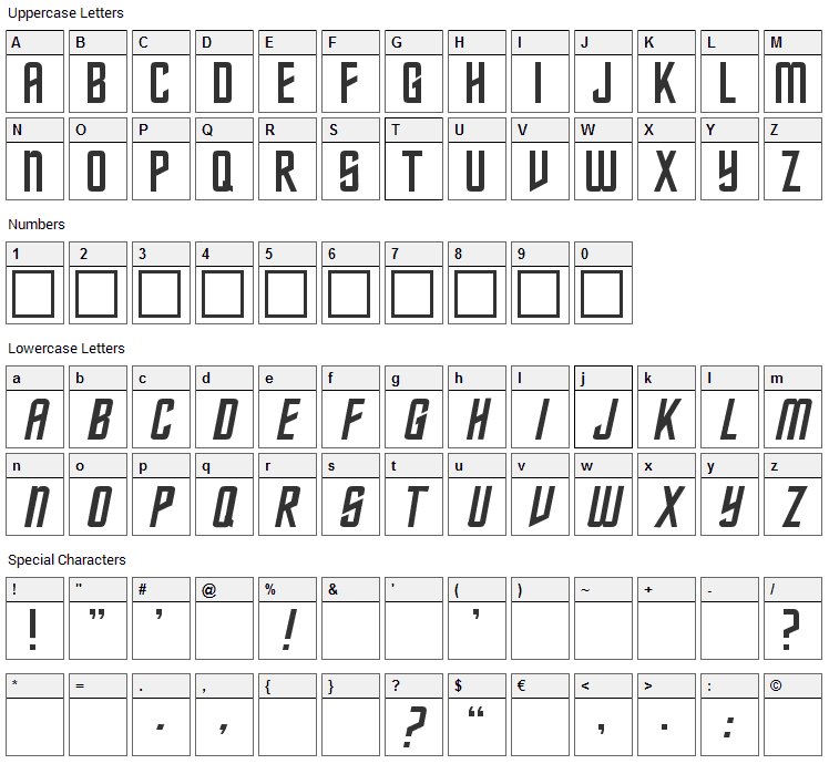 Federation Classic Font Character Map