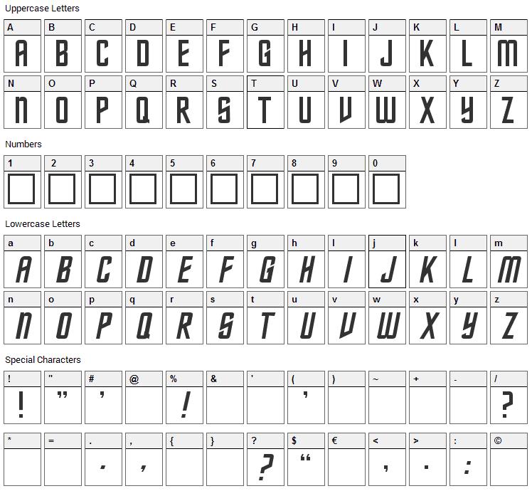Federation Classic Font Character Map