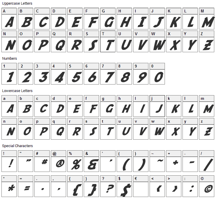 Fedora Font Character Map