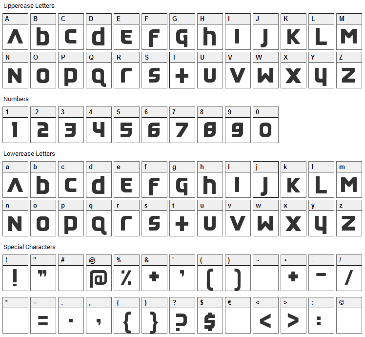 Feedback Quiet Font Character Map
