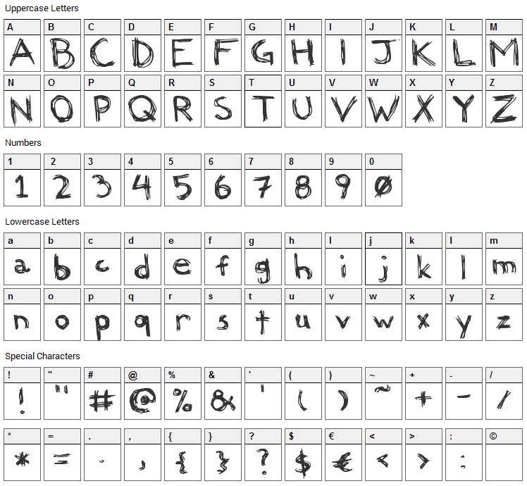 Felicia Font Character Map