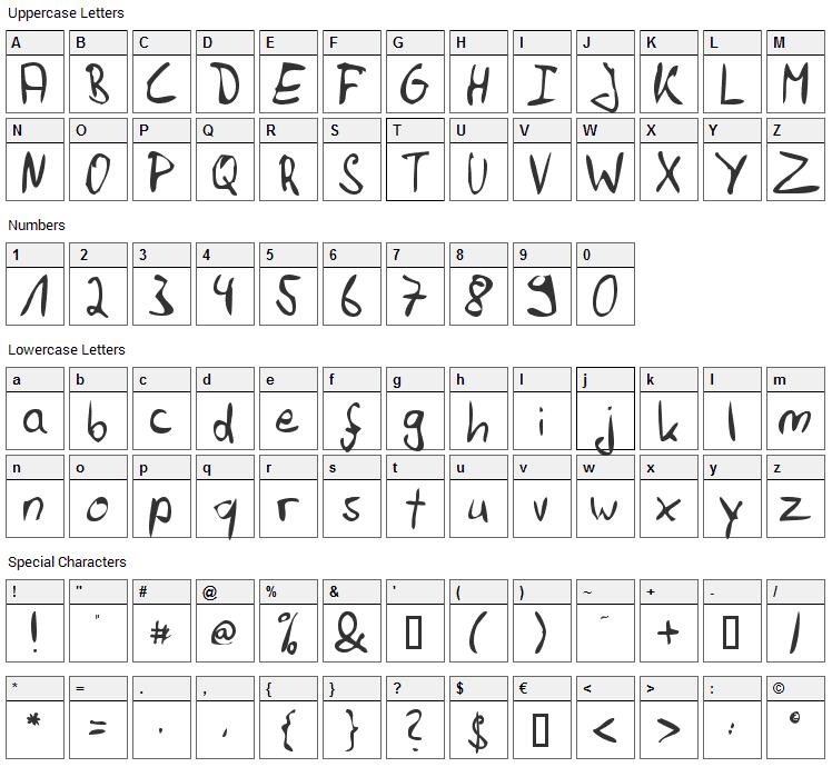 Felix Hand Font Character Map