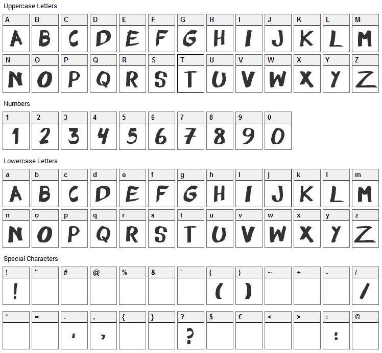 Felt Pen Font Character Map