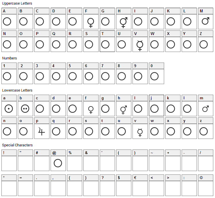 Female and Male Symbols Font Character Map