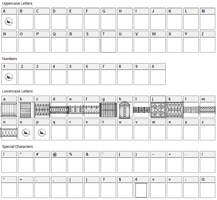 Fenced In LT Font Character Map