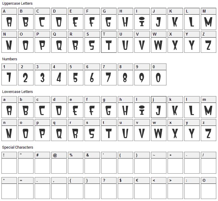 Fenix Header Font Character Map