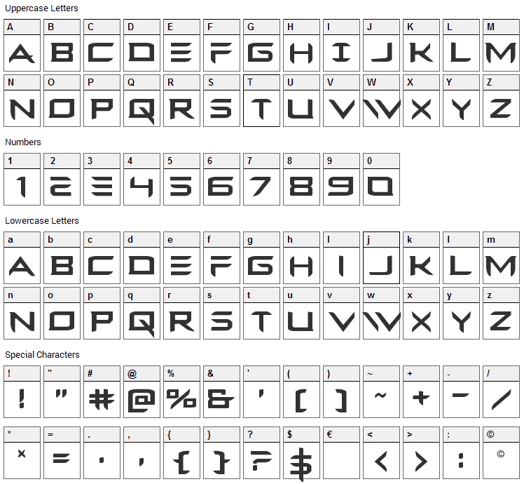 Ferret Face Font Character Map