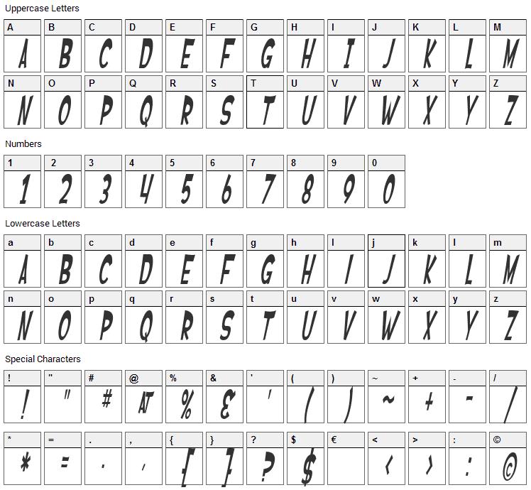 Ferretopia Font Character Map