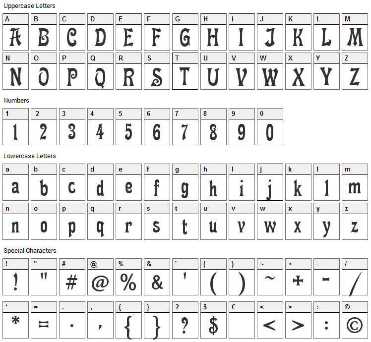 Fette Mikado Font Character Map