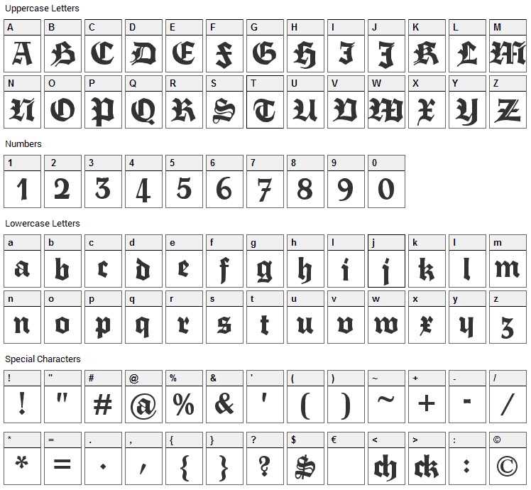 Fette Trump Deutsch Font Character Map