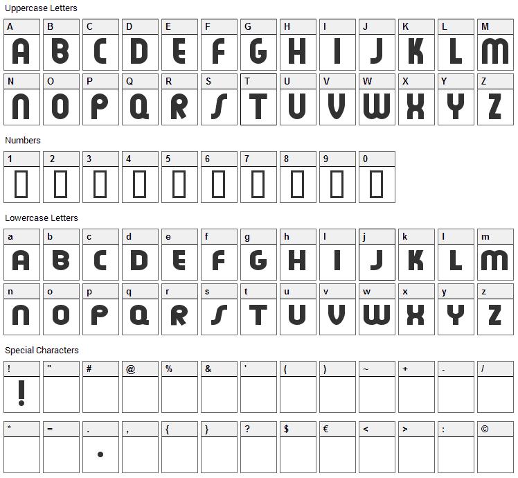 Feuerfeste Font Character Map