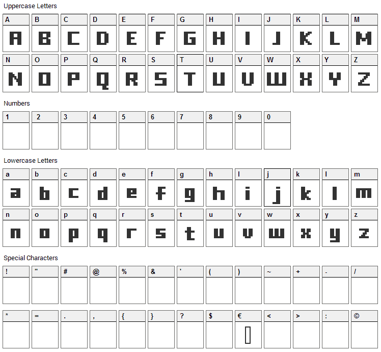 FFF Freedom Font Character Map