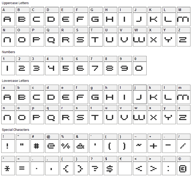 FFF Galaxy Font Character Map