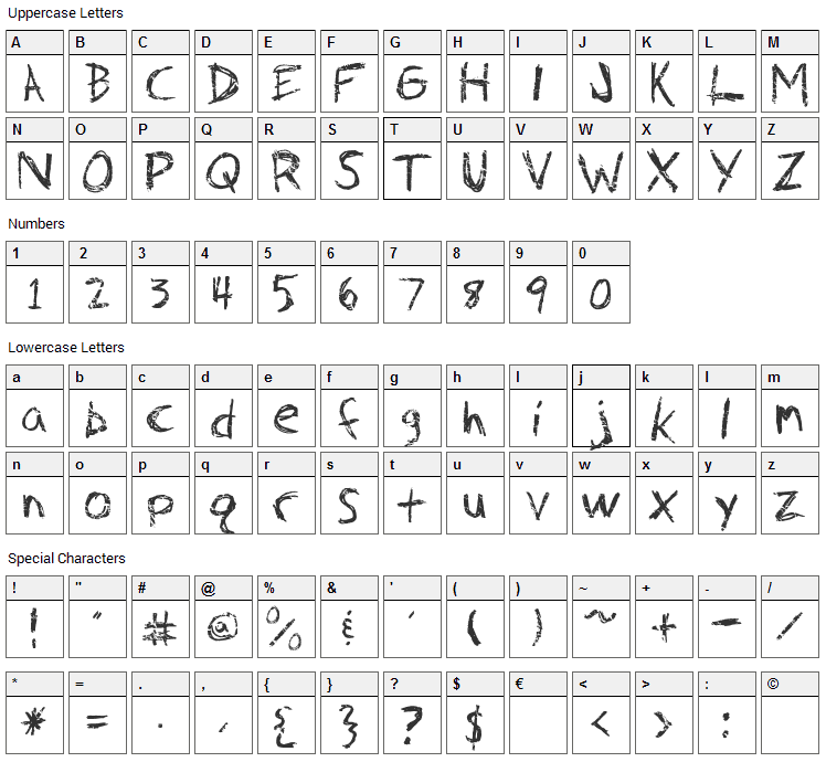 Fh Faith Font Character Map