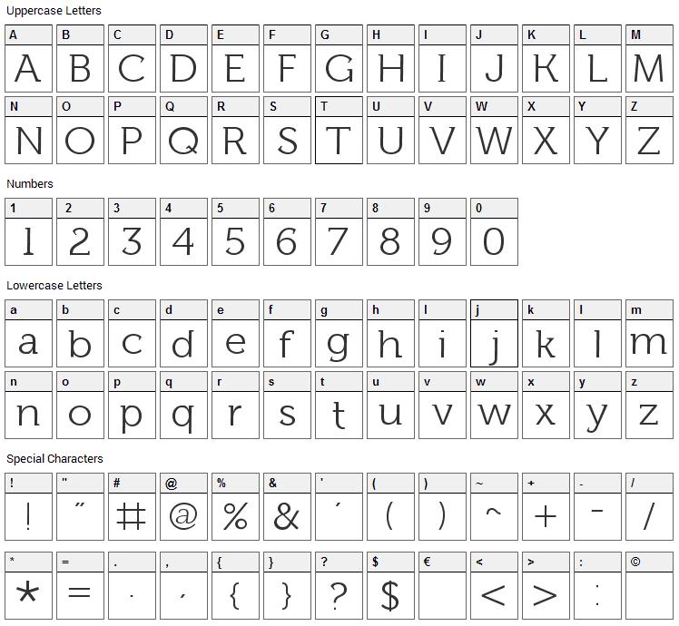 Fh Lentil Font Character Map